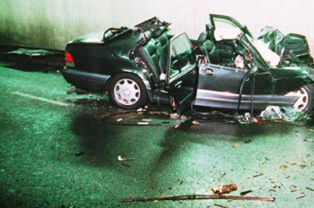 Crashed Mercedes from Diana Death